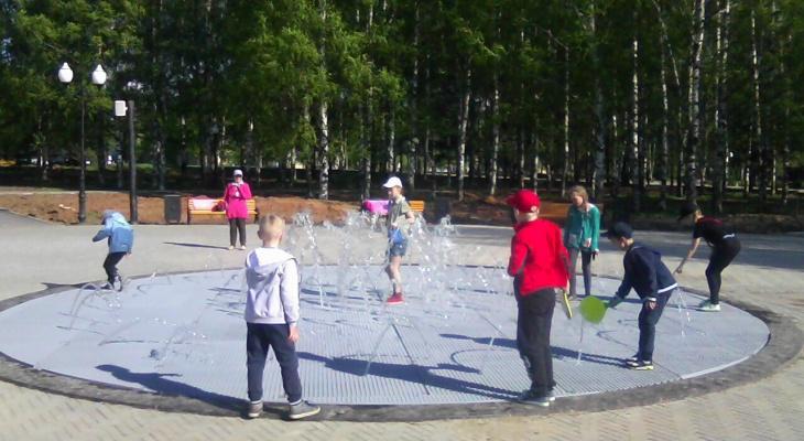 В Кочуровском парке запустили сухой фонтан