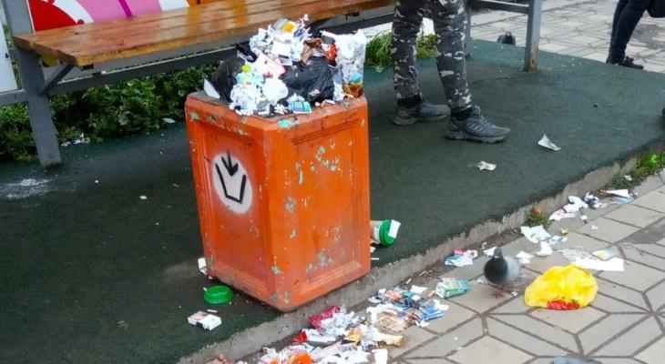 «Как не стыдно администрации?»: кировчане жалуются на переполненные урны на улицах города