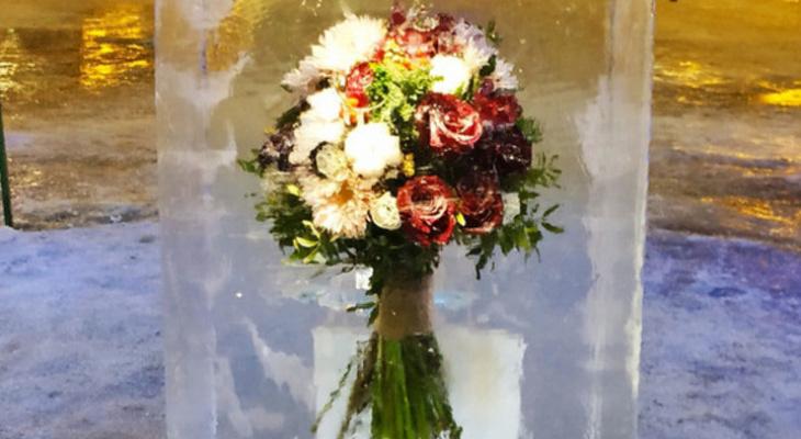 Цветы в глыбе льда: в Кирове появился необычный арт-объект