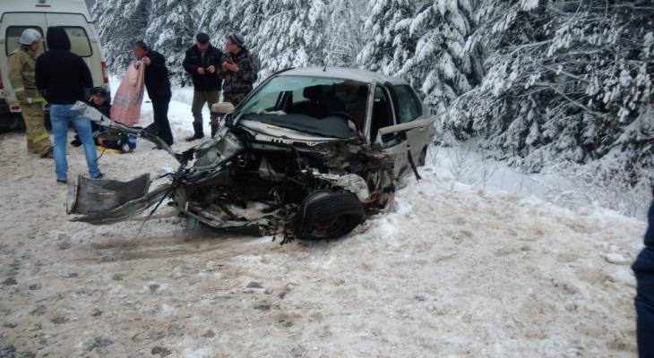 На трассе «Вятка» Datsun влетел сразу в 2 автопоезда: водитель и пассажирка чудом выжили