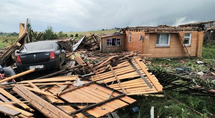 8 домов, транспорт и домашний скот пострадали от смерча в Верхнекамском районе 30 июля