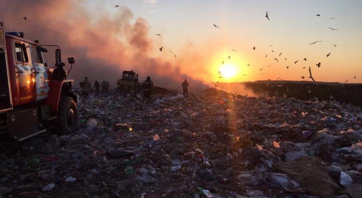 Роспотребнадзор обнаружил превышение нормативов при пожаре на свалке в Лубягине